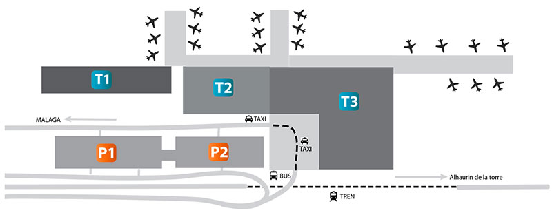 A map of parking available at Malaga Airport